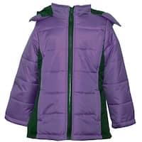 KC Collections Little Girls Purple Black Hooded Full Zipper Puffer Coat
