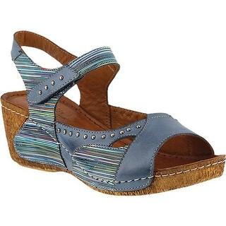 Spring Step Women's Jaslyn Ankle Strap Sandal Blue Multi Leather