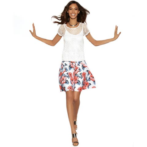 INC International Concepts Women's Floral-Print A-Line Skirt (Floral, 2))