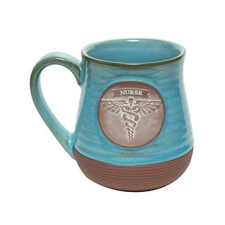 Link to Abbey and CA Gift Nurse Mug - Religious Essential Worker Blue Stoneware Coffee Cup Holds 20 Ounces - 4.75 Inch Similar Items in Dinnerware