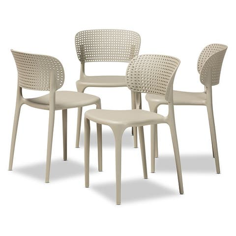 Rae Modern and Contemporary Stackable Plastic Dining Chair Set (4pc)