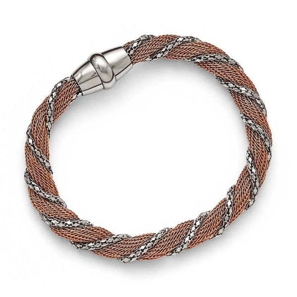 Chisel Stainless Steel Polished Rose IP-plated Mesh Twist Bracelet