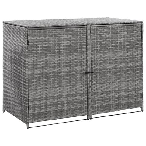 "vidaXL Double Wheelie Bin Shed Poly Rattan Anthracite 58.3""x30.3""x43.7"""