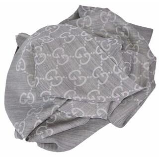 Gucci 165903 XL Light Silver Grey Silk Wool GG Guccissima Logo Scarf Shawl - Light Grey