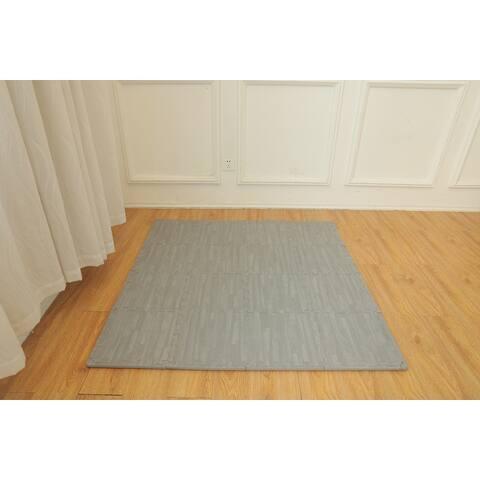 "Ottomanson Soft EVA Foam Mat Wood-Print Flooring Tiles, 16PC, 12""x12"""