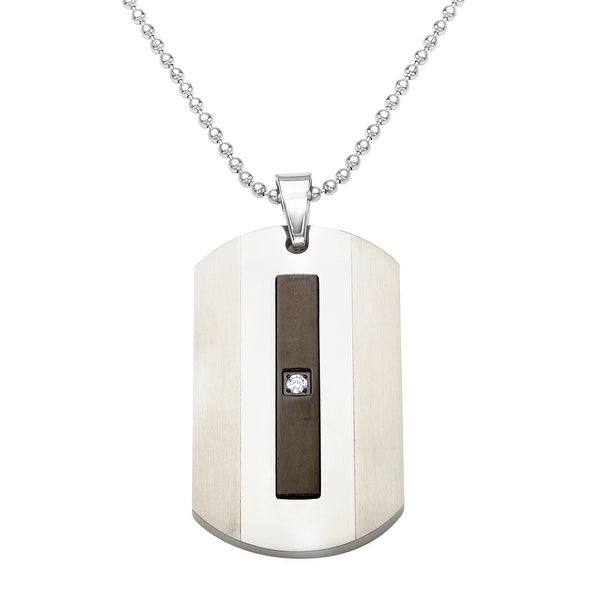 Men's Black Enamel Dog Tag Pendant with Diamond in Stainless Steel