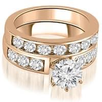 2.75 cttw. 14K Rose Gold Classic Channel Set Round Cut Diamond Bridal Set