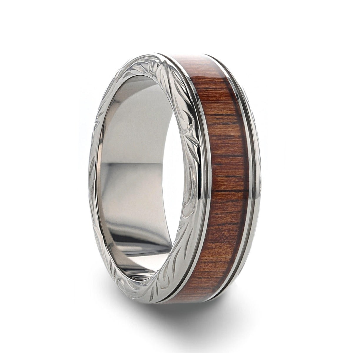 Comfort Fit Titanium Rings for Men Thorsten Kony 8 mm Lightweight Titanium Black Titanium Polished Beveled Edges Black Walnut Wood Inlaid Men/'s Wedding Ring