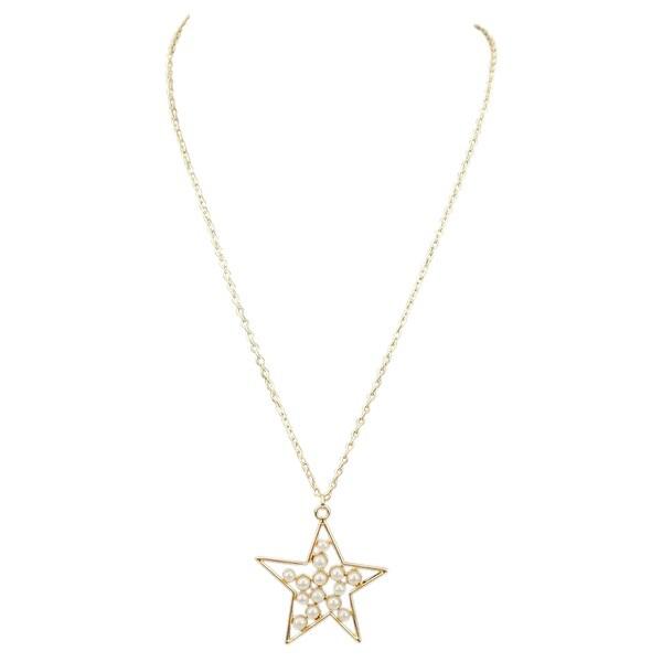 max & MO Mini Pearl Star Pendant Necklace - gold-pearl