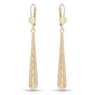 Mcs Jewelry Inc 10 KARAT YELLOW GOLD LONG DANGLING HIGH POLISHED EARRINGS (60MM)