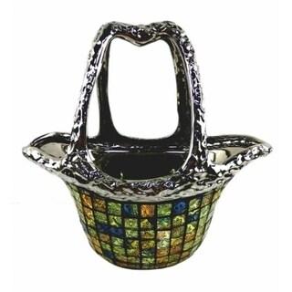 Dolce Mela DMCV010 Decorative Ceramic & Glass Purse Flower Vase - 12.5 x 5.5 x 7.5 in.
