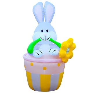 Holidayana Bunny in Basket Easter Bunny Inflatable / 6 ft Easter Yard Decorations / LED Easter Lighted Decorations
