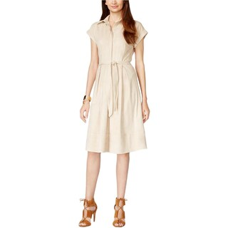 Vakko for INC Womens Shirtdress Faux Suede Pleated