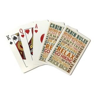 Cabin Rules Typography - Lantern Press Artwork (Poker Playing Cards Deck)