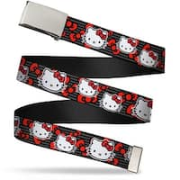 Blank Chrome Bo Buckle Hello Kitty Multi Face W Horizontal Stripes Web Belt