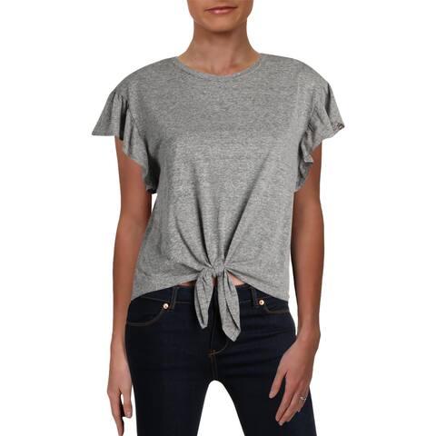 Aqua Womens T-Shirt Knot-Front Ruffled-Sleeve