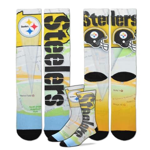 Pittsburgh Steelers Roadmap Sublimated Socks, Large (10-13)