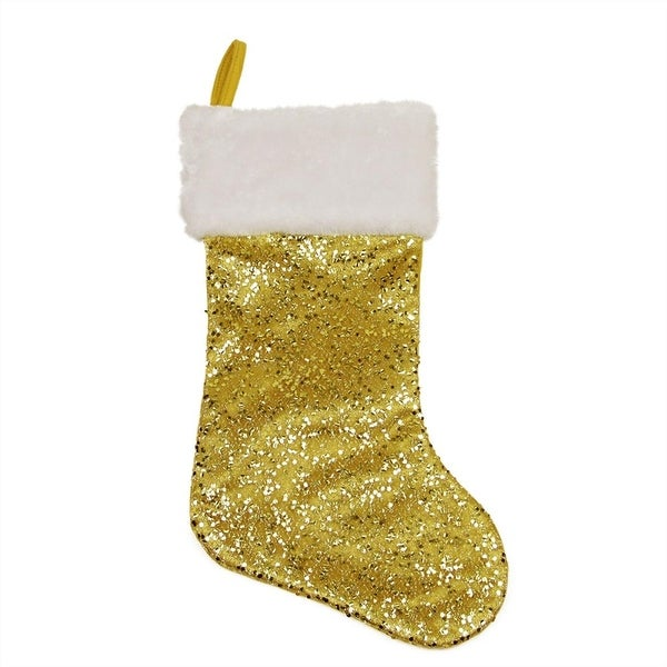 """18"""" Shiny Metallic Gold Sequined Christmas Stocking with White Faux Fur Cuff"""
