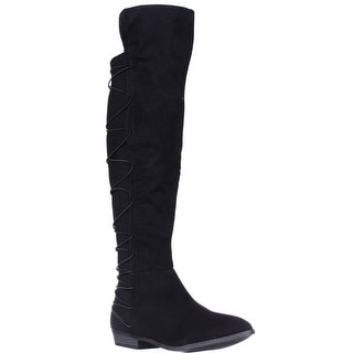 MG35 Cayln Over-the-Knee Strappy Boots, Black