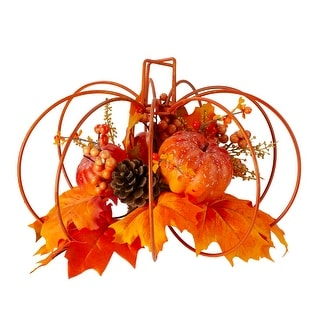"12"" Autumn Harvest Maple Leaf and Berry Thanksgiving Pumpkin Tabletop Centerpiece - N/A"