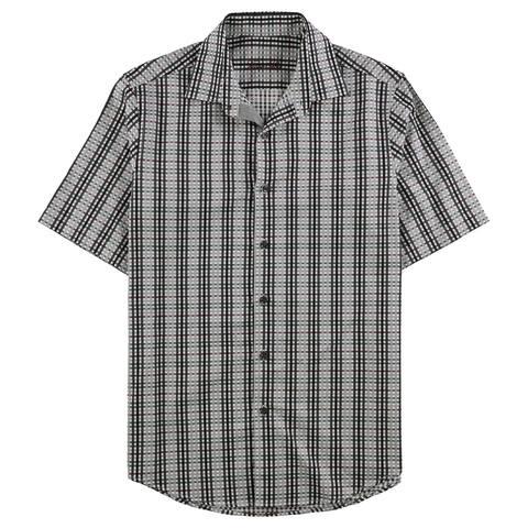 Tasso Elba Mens Check Button Up Shirt, Grey, Small