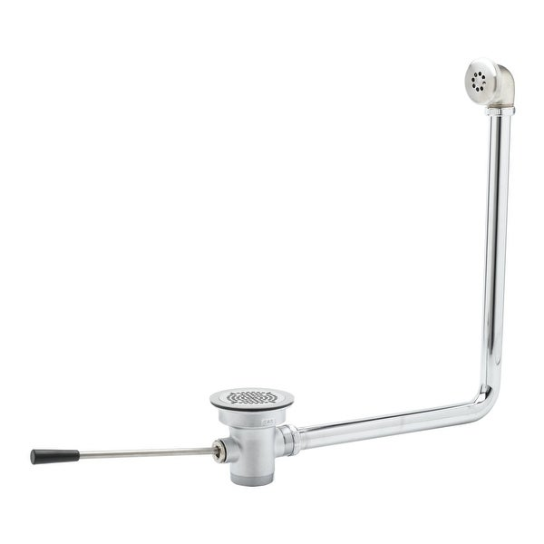 """T and S Brass B-3970-01 3-1/2"""" Waste Drain Valve with 2"""" Overflow, Lever Handle and 2"""" NPT Male x 1-1/2"""" NPT Male Outlet"""