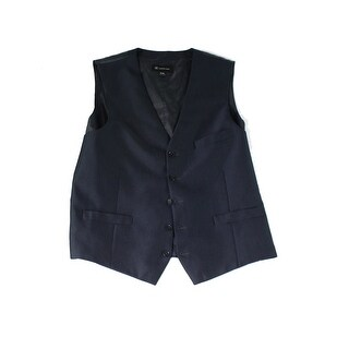 INC NEW Charcoal Black Mens Size Medium M Three Pocket Herringbone Vest