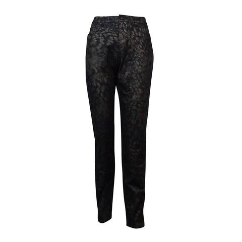 Style & Co. Women's Skinny Leg Shimmer Metallic Jeans - animal foil gold