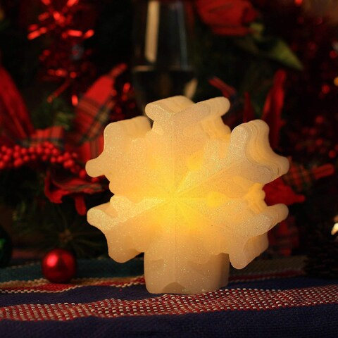 Christmas LED Candle with Timer, White Snowflake for Home Party or Holiday