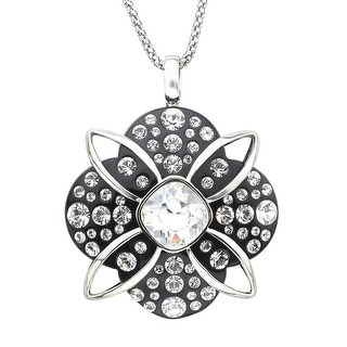 Crystaluxe Black Resin Pendant with Swarovski Crystals in Sterling Silver - White