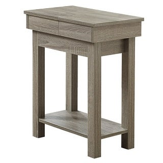 """24"""" Taupe Brown Contemporary Rectangular Side Accent Table with Storage"""