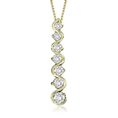 1.00 cttw. 14K Yellow Gold Round Cut Diamond Seven-Stone Journey Pendant
