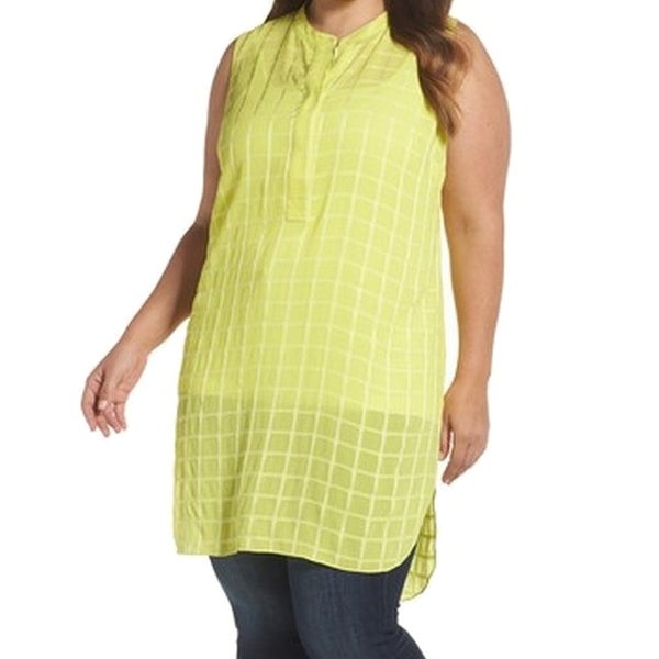 f1ced503 Shop Vince Camuto NEW Yellow Women's Size 3X Plus Check Button Tunic Top - Free  Shipping On Orders Over $45 - Overstock.com - 21462703