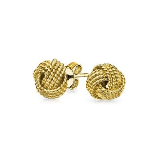 Bling Jewelry Four Rope Tiwsted Love Knot Stud earrings Gold Plated 9mm