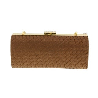Scheilan Brown Fabric Weave Box Clutch/Shoulder Bag