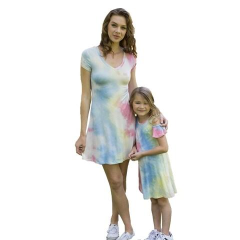 Women Blue Short Sleeves Tie-Dye Summer Dresses