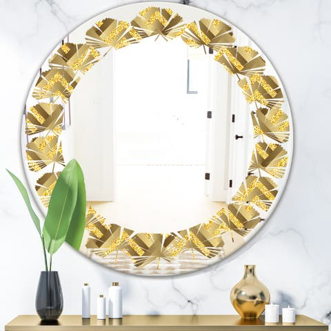 Designart 'Golden Plaid pattern' Modern Round or Oval Wall Mirror - Leaves