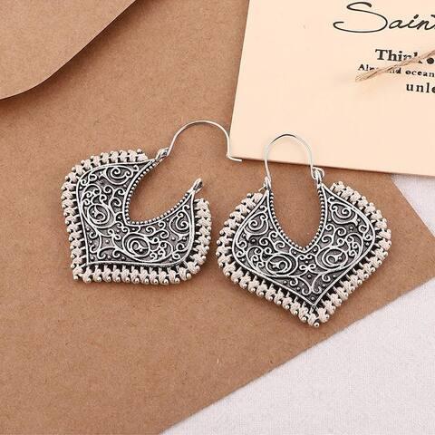 Handmade Silvertone Boho Filigree Latch Key Marquis Earrings White