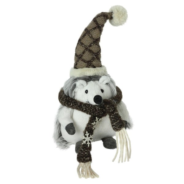 "8"" Plush Brown and White Fuzzy Hedgehog in Snowflake Scarf Christmas Decoration"