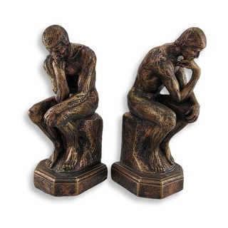 Rodins The Thinker Inspired Sculptural Bookends - bronze