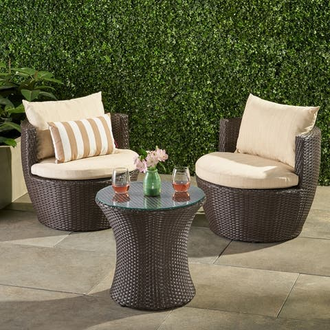 Kono 3-piece Wicker Chat Set by Christopher Knight Home