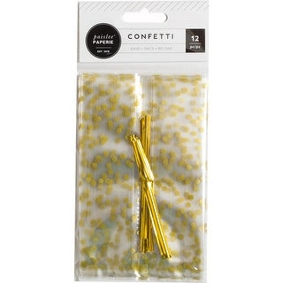 W/Gold Accents & Ties - Confetti Cellophane Treat Bags 12/Pkg
