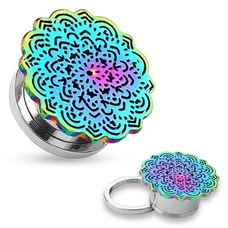 Rainbow Tribal Flower Top Design Surgical Steel Screw Fit Tunnel (Sold Ind.)