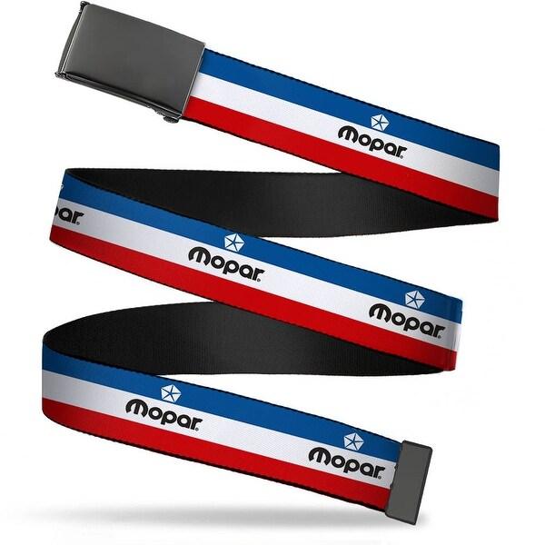 Blank Black Buckle Mopar Logo Stripe Blue White Red Webbing Web Belt