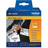 """""""Brother DK1234 Brother Name Badge Label - 2.36"""" Width x 3.39"""" Length - Rectangle - Direct Thermal - White - Paper -"""
