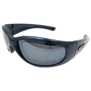 Padded Biker Sunglasses - Smoke Lenses Blue Frames
