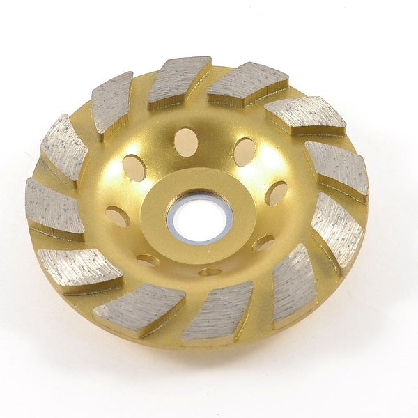 "Gold Tone Metal Diamond Abrasive Polishing Grinding Wheel 3.9"" Dia"