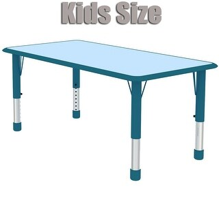 2xhome - Blue Teal Kids Table Height Adjustable Rectangle Shape Activity Table School Table Childs Bright Colorful Table
