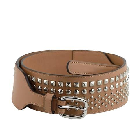 Gucci Women's Studded Skinny Silver Buckle Beige Leather Belt 388985 2754