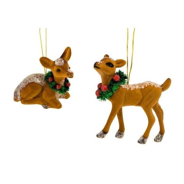 Club pack of 48 Brown and Grass Green Assorted Distressed Finish Deer Figurines 4.5""